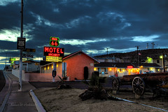 Legendary Motels on Route 66 in Barstow, CA in HDR (eoscatchlight) Tags: california route66 neon roadsideamerica hdr motels yesteryear barstow route66motel calnevari