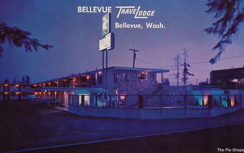 night vintage washington postcard travelodge bellevue