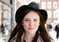Hannah (37/100) (drmaccon) Tags: street nottingham portrait woman beautiful hat photography prime eyes nikon pretty blueeyes streetphotography streetportrait stranger portraiture streetphoto 100strangers d5100 35mmf18g drmaccon