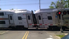 Rolling Shutter (wmliu) Tags: usa train us newjersey nj crossroad njtransit skewed signalpost rollingshutter wmliu