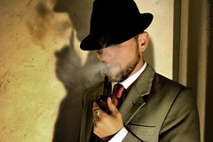 Sesión 50's (Irene Aguilar Diéguez.) Tags: red man beard masculine manly pipe tie style smoking suit fedora smoker stylish pipesmoker virile piped