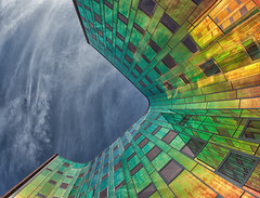 L'Arc en ciel (Jeronim01) Tags: sky color colour art netherlands colors up regenboog architecture photography photo rainbow colours foto fotografie photographer graphic pov geometry nederland kantoorgebouw officebuilding fisheye photograph deventer architectuur overijssel arcenciel geometrie kl