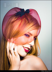Fascinator ...ing (Max Johnson) Tags: red portrait woman girl beauty hat fashion lady female model mesh style retro chick bow blonde product accessory fascinator popantique