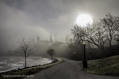 First Fog of 2016 - shrouded pathway. (gregoryscottclarke photography) Tags: river spring downtown ottawa rideaucanal victoriaisland thelocks