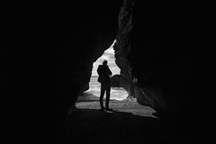 Focus (aaronflynndolan) Tags: light shadow sea blackandwhite dublin seascape black beach water waves shadows wideangle cave d5300