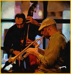 """Nice Touch"" (""SnapDecisions"" photography) Tags: music club nikon bass trumpet jazz d750 brushstroke caffetorino hirschfeld tonyfrank"
