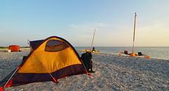 Beach Camp (chadbach) Tags: ocean camping camp water island bay boat sailing texas shell tent adventure 200 sail tandem oyster hobie 2016