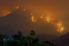 san gabriel wildfire at night (sjg310) Tags: california longexposure nature night landscape fire la losangeles sangabriel palmtrees le hdr wildfire