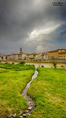 Firenze lights. (Jean McLane) Tags: city travel italy green water clouds landscape lights italia ciudad firenze arno italie ville