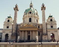 Charles Church - Vienna - Karlskirche (cmunozmm) Tags: vienna wien church square good pray charles squareformat crema karlskirche iphoneography instagramapp