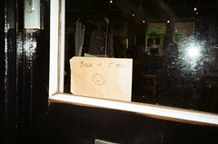 back in 5 mins (kyingwong) Tags: street reflection window glass smile amsterdam shop back five flash note minutes