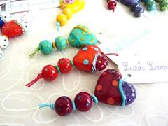 Bright Heart Sets (LushLampwork) Tags: uk glass beads heart bright handmade spot dot malvern earrings lush lampwork pendant focal juliefountain lushlampwork