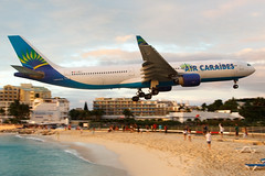 Air Caraibes F-ORLY @ SXM (georgetravels) Tags: airplane aircraft low landing airline caribbean airways stmaarten phillipsburg caraibes mahobeach lowapproach