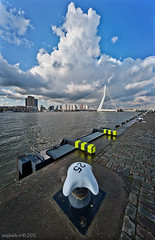 BIG SKY! / Rotterdam / Erasmusbrug (zzapback) Tags: city cruise blue sky urban holland robert netherlands dutch clouds river de pier big rotterdam nikon europa europe fotografie kade nederland wolken sigma lucht maas 1224mm stad dg erasmusbrug rivier voogd rotjeknor vormgeving wilhelminapier grafische hsm hollandamerika d700 bergselaan liskwartier f45f56 zzapback zzapbacknl robdevoogd stayawakeenjoyyourday