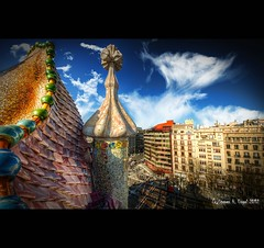 Casa Battl Nr. 10 - View from rooftop (LaTietze) Tags: bcnbarcelona antonigaudi casabattl casabattlo eixample passeigdegrcia spanien spain catalunya catalana europe hdr tonemapping photoshop photomatix nikon d7000 sigma816 topaz modernista modernismo museum mygearandme mygearandmepremium mygearandmebronze mygearandmesilver mygearandmegold mygearandmeplatinum mygearandmediamond vigilantphotographersunite rememberthatmomentlevel1 vpu2