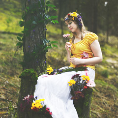 ostre (Brad.Wagner) Tags: flowers color tree easter moss spring dress alyssa goddess vine stump