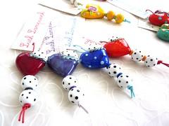 Polka Heart Sets (LushLampwork) Tags: uk glass beads heart handmade spot polka dot malvern earrings lush lampwork pendant focal juliefountain lushlampwork