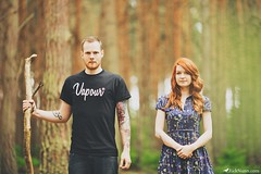 Richard & Sarah-Jean (Rick Nunn) Tags: boy red portrait people woman man black tree male girl tattoo sarah female hair beard ginger hands woods branch dof dress forrest serious grain rick posed curls tshirt jeans bark flare stick grip tones nunn vapour brutal americangothic ampersand grantwood spadge woodhallspa canonef135mmf2l ostlersplantation