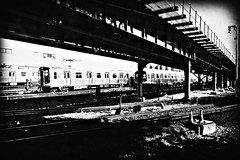 train yards (Manhattan Girl) Tags: nyc urban bw brooklyn subway blackwhite traintracks nyctransit approachingconeyisland shotfromthentrain