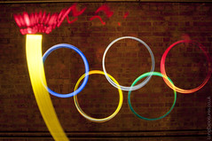 Lightpainted Olympic torch, flame & rings (AndWhyNot) Tags: lightpainting london team flame torch rings gb olympic 2012 7370
