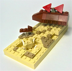 Mini Jabba's Sail Barge (Gabe Umland) Tags: red scale dark star desert lego contest tan mini return jedi sail jabba wars trans skiff vignette barge hover mifi sarlacc
