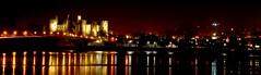 Conwy Night Panorama (Serge Freeman) Tags: uk longexposure bridge panorama castle wales night reflections river lights town conwy