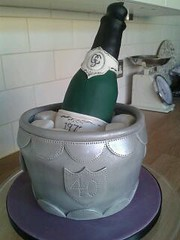 champagne (Julia Hardy Cakes) Tags: birthday cake 40th bucket bottle wine champagne fondant