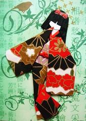 ATC973 - Yoko (tengds) Tags: red black green atc geisha kimono obi fans origamipaper papercraft japanesepaper washi ningyo handmadecard chiyogami yuzenwashi japanesepaperdoll origamidoll tengds
