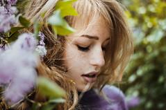 little lilac sister (laura zalenga) Tags: summer woman flower green nature girl beautiful face hair bush bokeh sister blond laurazalenga evazalenga