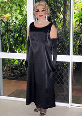 Black Satin Evening Dress (Christine Fantasy) Tags: transsexual shemale