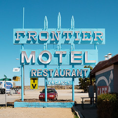 frontier motel. truxton, az. 2007. (eyetwist) Tags: road blue arizona usa signs postprocessed southwest sign photoshop square typography restaurant tv cafe route66 nikon exposure graphic text letters mother motel az roadtrip 66 route filter numbers crop signage type nikkor vacancy processed frontier 2007 typographic rt66 postprocessing us66 truxton frontiermotel alienskin 18200mmf3556gvr reprocessed d80 eyetwist themotherroad nikond80 eyetwistkevinballuff