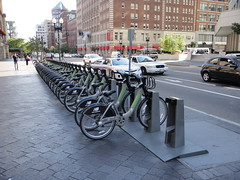 Boston Hubway bikes at South Station (quiggyt4) Tags: city streets bike bicycle boston massachusetts transportation share southstation sustainability ronpaul ows occupy zuccottipark planetizen hubway occupywallstreet