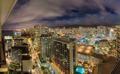 Honolulu at Night (Dr_Drill) Tags: ocean sea panorama mountain mountains beach night clouds photoshop buildings hawaii nikon skyscrapers waikiki oahu head sigma panoramic diamond hi pan honolulu sheraton 1020 hdr d80
