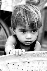 IMG_6727 (Salad jar) Tags: poverty portrait people baby india black monochrome look wonder kid child worried gujarat