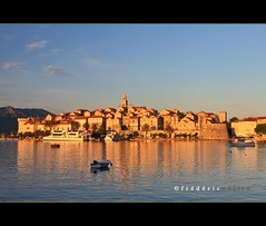 Korčula at sunset in Croatia - Birthplace of Marco Polo - Unesco site - lathuy