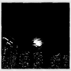 A Simple Moment (swanksalot) Tags: blackandwhite bw cloud moon chicago westloop iphone faved hipstamatic snapseed