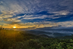 Sun shows up finally  (Sharleen Chao) Tags: sun mountain color sunrise canon landscape cityscape foggy earlymorning taiwan nopeople taipei dslr hdr sunflare  horizonal   1635mm    canoneos5dmarkiii