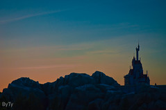 Sunset Beauty at the Beast's Castle (typuppetguy) Tags: sunset mountain snow france castle disney disneyworld lumiere belle beast bog magickingdom beautyandthebeast fantasyland beourguest newfantasyland disneysunset beastscastle fantasylandexpansion beourguestrestaurant