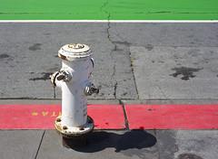 Fire hydrant (FilmFlamMan) Tags: sanfrancisco california street shadow red white green hydrant fire embarcadero manualfocus canon6d asahipentaxsmcmacrotakumar50mmf4