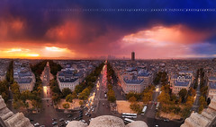 Stormy sunset from the Arch of Triumph to La Dfense ~ Paris / France ~ (Yannick Lefevre) Tags: city roof sunset panorama storm paris france monument architecture photoshop town nikon cityscape fisheye avenue arcdetriomphe dri ladfense d300 concordelafayette avenuedelagrandearme nikoncapturenx 105mmdx capturenx2 yllogo yannicklefevre||photography