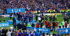 Foxes captain Wes Morgan receives his Premier League winners medal on Leicester City's greatest day, King Power stadium, 7 May 2016 (sbally1) Tags: england football soccer leicester morgan wes foxes champions captainmorgan bpl vardy 2016 premierleague epl leicestercity lcfc mahrez wesmorgan
