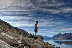 Man shall not live by bread alone... (Kevin_Jeffries) Tags: newzealand sky panorama cloud mountain lake nature water rock landscape nikon scenery flickr hill perspective scenic human april contemplation lakehawea nikond90