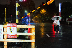 Heavy rain,  Clothilde BL/Lost In Transition (Lost In Transition Project) Tags: street nightphotography people urban color rain japan night fuji rainyday streetphotography rail osaka japon 2016 x100s