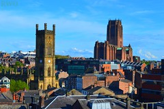 St Lukes and Anglican Cathedral, Liverpool (Liverpool Suburbia) Tags: church skyline liverpool cityscape rooftops cathedral anglican stlukes merseyside 2016 anglicancathedral liverpoolcitycentre liverpoolskyline