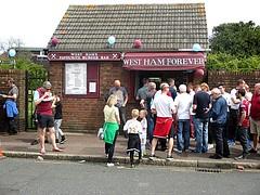 West Ham Forever burger bar outside The Bobby Moore Stand 07.05.16 (Trevor Bruford) Tags: park blue west london club football utd united ground ham east fc claret upton hammers irons boleyn