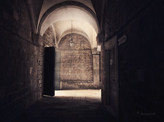 from the shadows (cherryspicks (off for a while)) Tags: door light shadow building brick church wall architecture dark mood atmosphere cloister