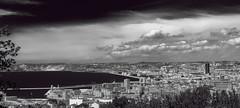 Marseille (frederic.gombert) Tags: city light sea sky bw cloud sun sunlight white black clouds seaside mediterranean cityscape south provence mediterranee flickrtravelaward flickrtravelaward