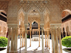 Alhambra Palace with the Courtyard of the Lions (Amberinsea Photography) Tags: beautiful amazing spain courtyard palace alhambra moorish granada lions historical unescoworldheritage patiodelosleones lionfountain amberinseaphotography thecourtyardofthelions