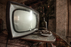 TV Dinner (Sshhhh...) Tags: old bird abandoned television dinner dark skeleton tv interesting artistic decay explorer neglected feathers plate indoor dirty creepy adventure explore forgotten lonely behind grime exploration decayed abandonedbuilding canon550d