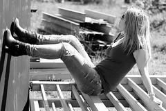 Cathy - Woman shooting - Rock boots (Pito Charles) Tags: urban blackandwhite woman sun france sexy nature girl monochrome beauty sunglasses rock canon outside soleil spring highheels photoshoot jean natural lyon noiretblanc outdoor lumière garage femme young naturallight jeans talon beauté heels denim shooting jolie monochrom rocking extérieur fille mechanic printemps materials mecanique urbain talons denims lumièrenaturelle jeune rhônealpes materiaux canoneos70d